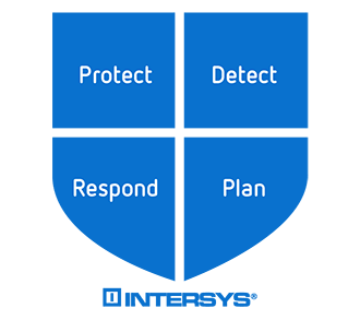 Image of a shield, with four key words: Protect, Detect, Respond, and Plan