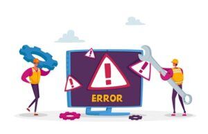 TSB IT migration failure: cartoon workmen try to fix a giant monitor emblazoned with the word 'Error'.