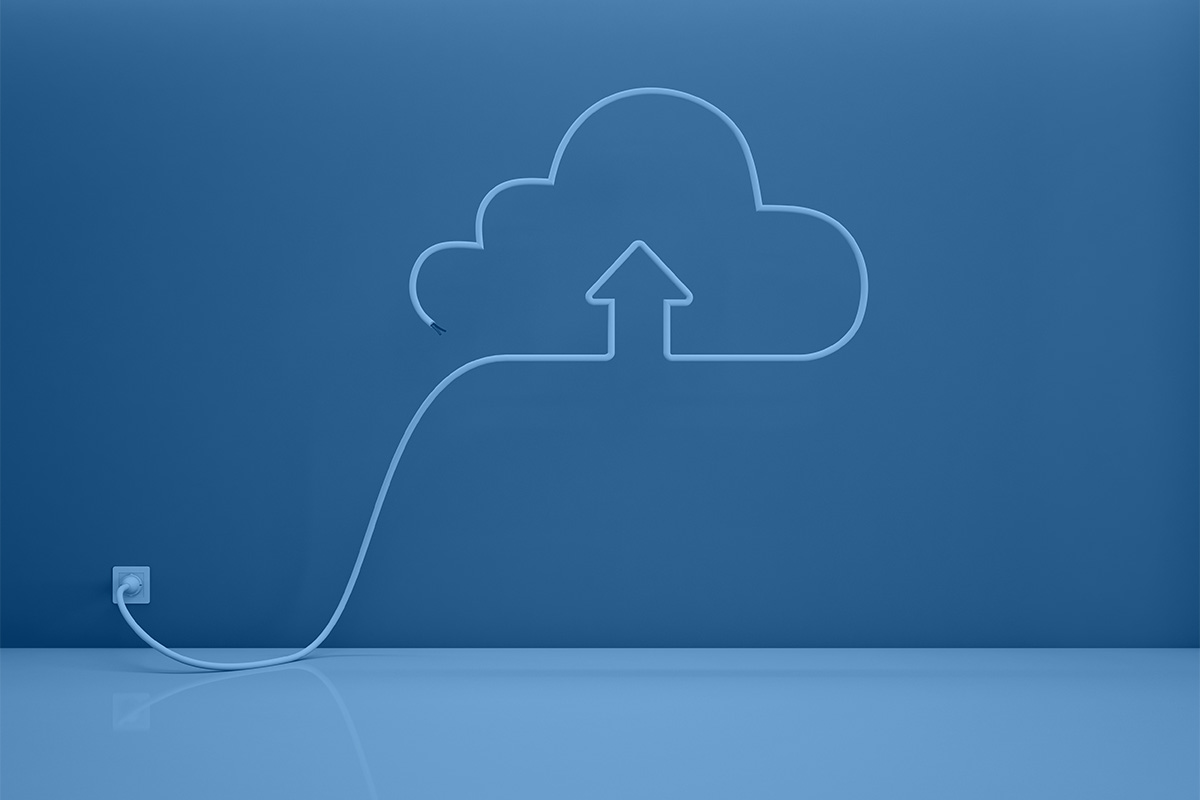 A cloud, plugged in to a socket to represent Intersys's work as cloud service providers in London.