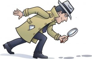 Cartoon of sleuth looking at footprints with a magnifying glass to illustrate the concept of social hacking