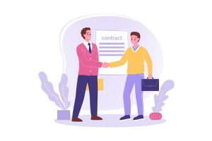 Two men shaking hands after an offer of employment to illustrate social hacking opportunities