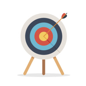 An arrow in a bullseye representing the need for a clear objective in a user requirements specification.