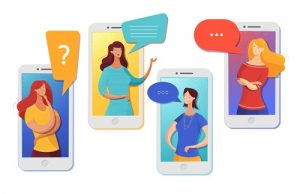 Illustration of friends chatting on a smartphone to illustrate how social hacking works