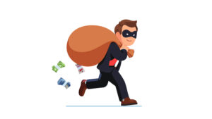 Post Office Horizon scandal: a cartoon thief with mask makes away with a bag of swag.